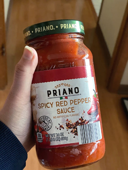 Priano spicy red pepper sauce at ALDI
