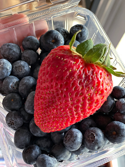 ALDI strawberries and blueberries