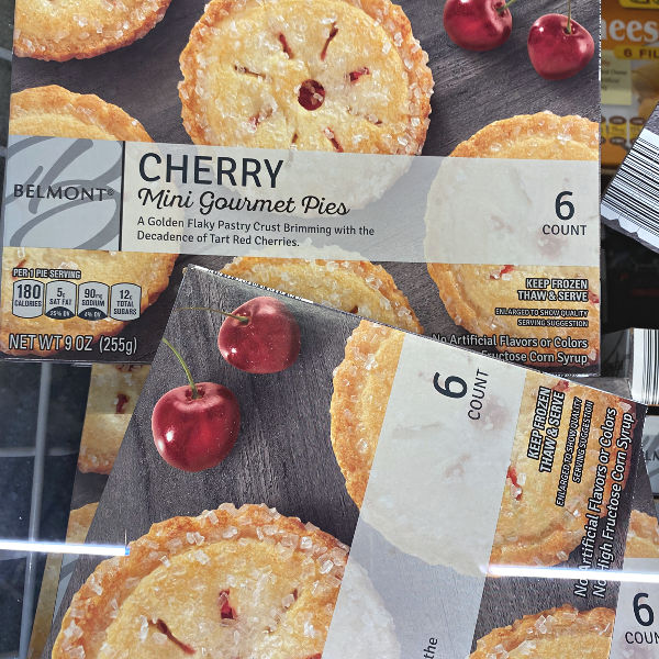 mini gourmet cherry pies at aldi