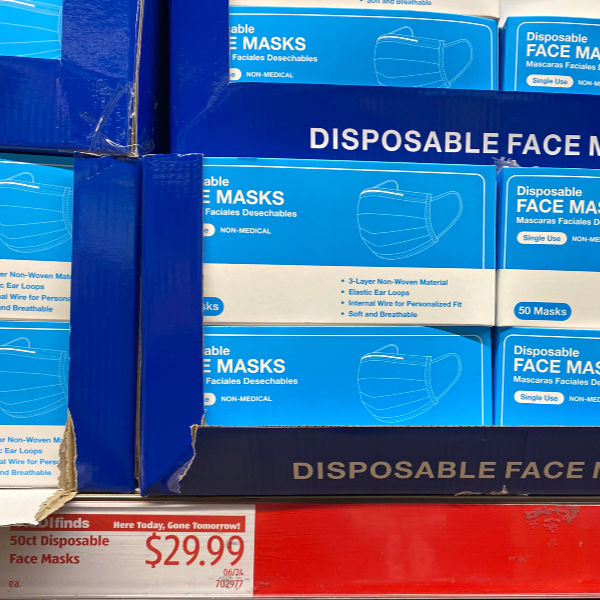disposable face masks at ALDI