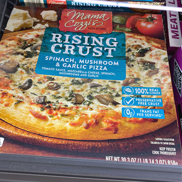 Mama cozzi spinach mushroom pizza in this week's ALDI Finds