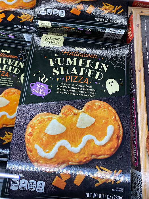 pumpkin shaped pizza at aldi