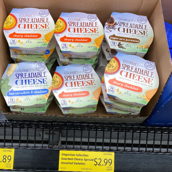 gourmet spreadable cheese at aldi