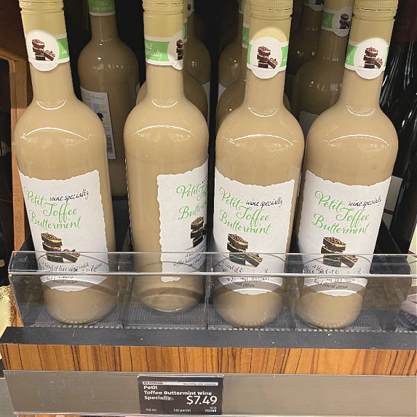 Petit toffee buttermint wine at aldi