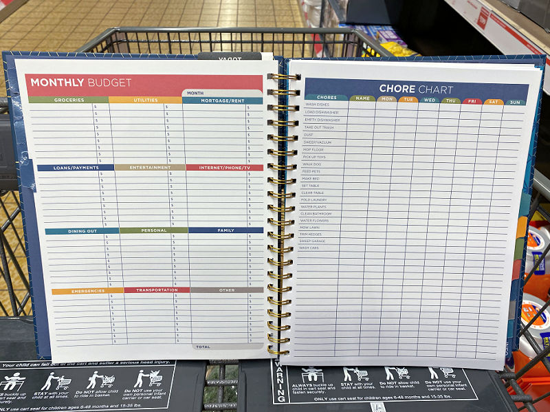 aldi parent planner budget and chore chart sheets