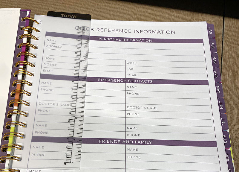 ruler and quick reference in aldi planner