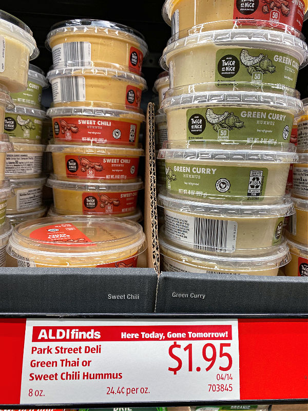 curry hummus at aldi