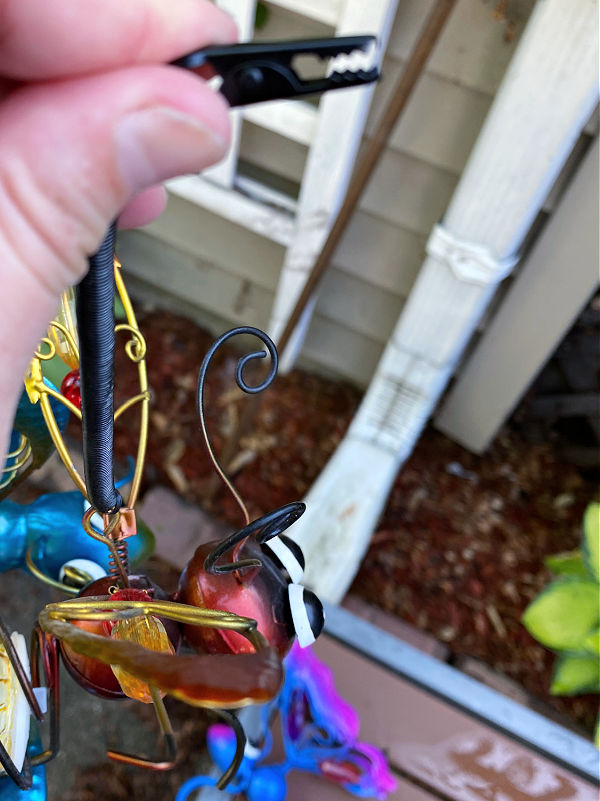 solar bugs hang with an alligator clip